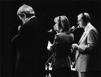 "Garrison Keillor, Sue Scott and Tim Russell performing the radio comedy sketches on ""A Prairie Home Companion."""