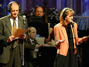 "Radio actors, Tim Russell and Sue Scott, performing their characters on ""A Prairie Home Companion."""