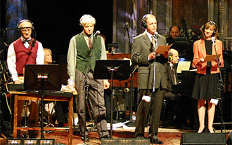 Sound effects men, Tom Keith and Fred Newman with Tim Russell and Sue Scott performing on Garrison Keillor's radio variety show.