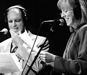 Tim Russell and Sue Scott acting on Garrison Keillor's popular radio variety show.