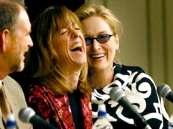 Tim Russell (Al, Stage Manager), Sue Scott (Donna, Makeup Lady) and Meryl Streep (Yolanda Johnson) share a laugh at the movie premiere's press conference for Robert Altman's A Prairie Home Companion.